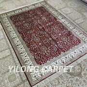 Yilong 4.5and039x6.5and039 Red Handknotted Silk Carpet All Over Interior Area Rug H320b