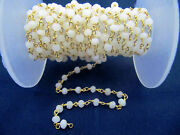 Natural White Agate 3-4 Mm Rosary Beaded Gold Plated Chain For Jewelry