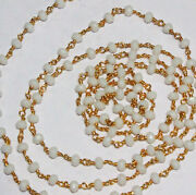 Dyed White Agate 3-4 Mm Rosary Beaded Gold Plated Chain For Jewelry