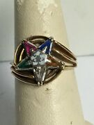 10k Gold, Gemstone, And Enamel Order Of The Eastern Star Ring Size 6.75