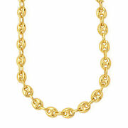 14k Yellow Gold Puffed Mariner Link Chain Necklace 11mm