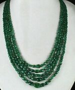 Natural Old Mines Emerald Beads 5 Line 398 Cts Nugget Precious Stone Necklace
