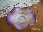 Thomas Webb And Sonand039s Antique Brides Basket Signed Lavender And Gold C.e. Barker Co
