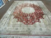 8and039 X 10and039 Vintage Hand Made Fine Chinese Oriental Silk Rug Hand Knotted Carpet