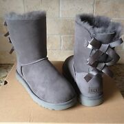 Ugg Short Bailey Bow Ii Grey Gray Water-resistant Suede Boots Size Us 7 Womens