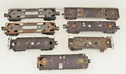 Lot Of 7 Vintage O Scale Lionel Metal Train Frames Parts Chassis Trucks Wheels