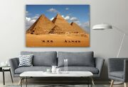 Pyramids Sphinx Egypt Giza Painting Ancient Historical Places Canvas Print Art