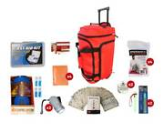 Red Wheel Bag Family Survival Blackout Kit Emergency Hurricane First Aid