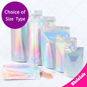 Assorted Sizes Glossy Holographic Silver Foil Mylar Stand Up Zip Lock Bag
