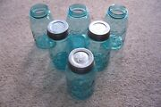 6 Used Vintage Blue Ball Jars With A Number 4 6 7 11 12 14 On The Bottom Of Them