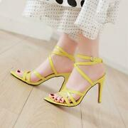 Womens Open Toe Dress Pumps High Heel Ankle Strappy Sandal Shoes Plus Size