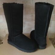 Ugg Classic Tall Ii 2 Black Water-resistant Suede Sheepskin Boots Size 7 Womens