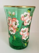Vintage Hand Blown Green Crackle Glass Hand Painted And Signed E. Cantrell Vase