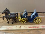 Vintage 1940's Stanley Toys Cast Iron Horse And Buggy