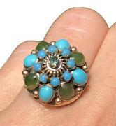 Blue Turquoise Nephrite Cabochon 14k Yellow Gold Thai Princess Siam Vintage Ring