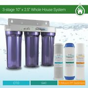 Whole House Water Filter System 2.5 X 10 Three Stage Filtration 3/4 Inlet