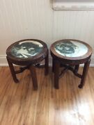 Chinese Antique Taboret Tables.near Pair But Not Exact Match. Circa 1875.
