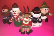 Lot Of 5 Rudolph And The Island Of Misfit Toys Plush Bean Bag Christmas Ornaments
