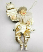 Vintage Golden And White Hanging Elf / Fairy Figurine