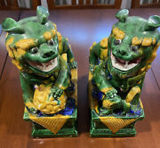 Foo Dogs - Green And Yellow Foo Dogs - Set Of Two Chinese Foo Dogs