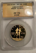 1984-w Olympic Us 10 Gold Coin Anacs Graded Pf70dcam Pr-70dcam Proof