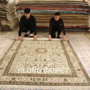 Yilong 6and039x9and039 Ivory Handmade Silk Vintage Carpet Living Room Hand Woven Rugs 202b