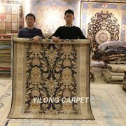 Yilong 4.3and039x6.6and039 Antique Handmade Silk Rug Soft Hand Knotted Area Carpet C12a