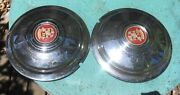 Two 1941 1942 Cadillac 15 Full Wheel Covers W/ Matching Center Emblems