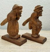 Black Forest Wood Carved Primative Nut Cracker Old Man And Woman