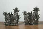 Pair Of 2 Metzke Usa Double Hospitality Pineapple Pewter Bookends Signed