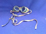 Rare Antique Safety Glasses Goggles Aviator Motorcycle Automobile Leather Nf