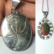 80 Ct Tw Untreated Ammolite Fossil Gemstone Sterling Silver Jewelry Pendant Usa