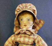 Wonderful Antique Hand Painted Cloth Doll With Antique Outfit