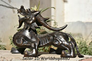 20.8 Antique Old China Bronze Feng Shui Pixiu Beast Unicorn Wealth Lucky Statue