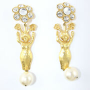 Signed Vintage Statement Christian Lacroix Earrings With Faux Pearl And Crystals