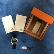 Hermes Clipper Diver Chronograph Cl2.915 39mm Black Dial Rubber Menand039s Watch