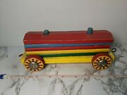 Rare Brio Vintage Wooden Pull Toy 1950s Train Circus 5 Block Stack Car Peg Hook