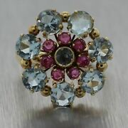 1930's Antique Art Deco 14k Yellow Gold 4ctw Aquamarine And Ruby Ring