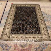 Yilong 4and039x6and039 All Over Design Silk Hand Knotted Oriental Carpets Area Rugs 877b