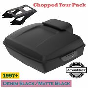 Advan Denim Black Chopped Tour Pack With Black Latches For 97+ Harley Touring