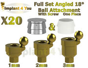20x Set Angled 18anddeg Ball Attachment One Piece + Screw For Dental Implant Hex 2.42