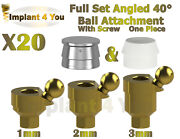 20x Set Angled 40anddeg Ball Attachment One Piece + Screw For Dental Implant Hex 2.42