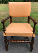 Antique Jacobean Arm Chair Turned Spool Legs Arms Leather Seat And Back