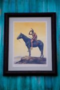 Antique 100 Yr. Old Cyrus E. Dallin Indian Andldquothe Scoutandrdquo Artist Signed Litho Print