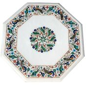 20 White Coffee Table Top Parrot And Peacock Multi Floral Inlay Home Decors W015