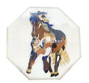 20 White Marble Table Top Horse Inlay Father's Day Home Decorative Gifts W020