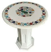 2and039 White Marble Side Table Top With 28 Stand Peacock Inlay Home Decorates W002b