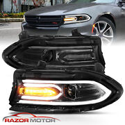 For 15-20 Dodge Charger Dual Led Drl Tube Square Beam Projector Headlights Pair