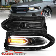 For 2015-2020 Dodge Charger Dual Led Tube Square Beam Projector Headlights Pair
