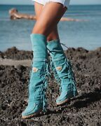 El Vaquero Coleen Silverstone Marine Turquoise Wedge Moccasin Tall Fringe Boots